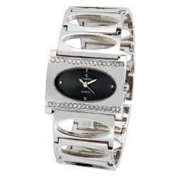 Cardy női karóra, quartz, ezüst színű tok, ezüst színű fémcsat kő díszítéssel, fekete számlap