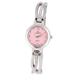 Cardy női ékszeróra, quartz, ezüst színű tok, rózsaszín számlap, kő díszítéses fémcsat