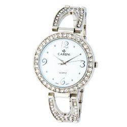 Cardy női karóra, quartz, ezüst színű tok, ezüst színű fémcsat kő díszítéssel, fehér számlap