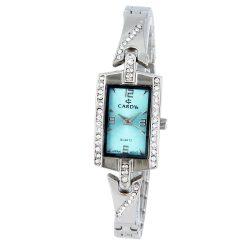 Cardy női ékszer karóra, quartz, ezüst színű tok, ezüst színű fémcsat kő díszítéssel, kék számlap