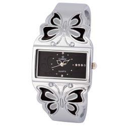 Cardy női ékszeróra, quartz, ezüst színű tok, fekete számlap, pillangós díszítésű ezüst fémcsat