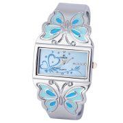 Cardy női ékszeróra, quartz, ezüst színű tok, kék számlap, pillangós díszítésű ezüst fémcsat