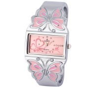 Cardy női ékszeróra, quartz, ezüst színű tok, rózsaszín számlap, pillangós díszítésű fémcsat