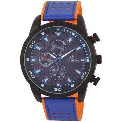 Cardy férfi bőrszíjas karóra, quartz, fekete tok, narancs/kék bőrszíj, kék számlap