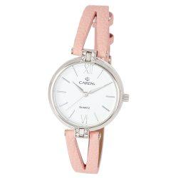 Cardy női bőrszíjas karóra, quartz, ezüst színű tok, rózsaszín bőrszíj, fehér számlap