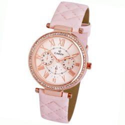 Cardy női bőrszíjas karóra, quartz, rózsaarany színű tok, rózsaszín szíj, rózsaarany számlap