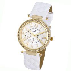 Cardy női bőrszíjas karóra, quartz, arany színű tok, fehér szíj, ezüst színű számlap