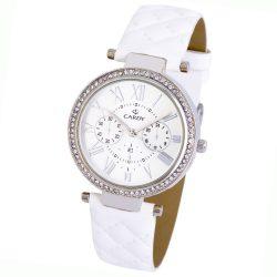 Cardy női bőrszíjas karóra, quartz, ezüst színű tok, fehér szíj, ezüst színű számlap