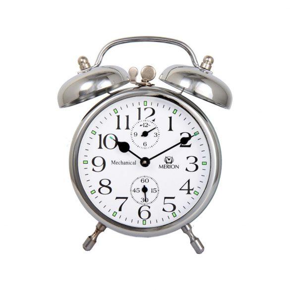 Merion fém ébresztőóra, mechanikus, ezüst színű, 3.5^
