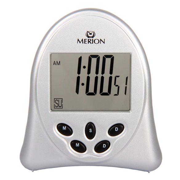 Merion ébresztőóra, LCD, ezüst színű