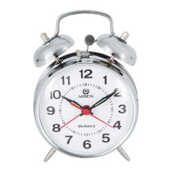 Merion fém ébresztőóra, mechanikus, ezüst színű, 4^