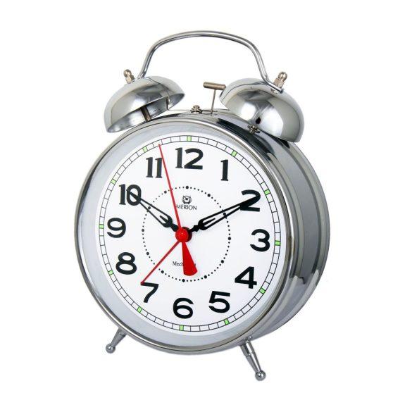 Merion fém ébresztőóra, mechanikus, ezüst színű, 6, 6^
