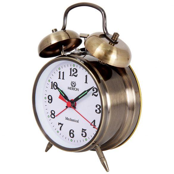 Merion fém ébresztőóra, mechanikus, barna színű, 4^