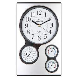 Merion falióra, quartz, ezüst színű tok, sweep szerkezet, barometer, hőmérő, páratartalommérő