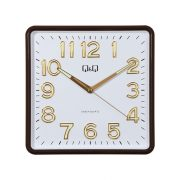 Q&Q falióra, quartz, barna színű tok, fehér számlap, 0309H501Y