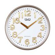 Q&Q analóg falióra, ezüst színű műanyag tok, arab számos, fehér számlap, plexiüveg, quartz - sweep (halk járású) szerkezet - 0310H501Y