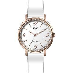 Q&Q női bőrszíjas karóra, rózsaarany színű tok, fehér színű szíj, ezüst színű számlap, QC09J114Y