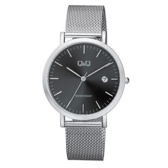 Q&Q férfi fémcsatos karóra, ezüst színű tok, ezüst színű szíj, fekete számlap, A466J222Y
