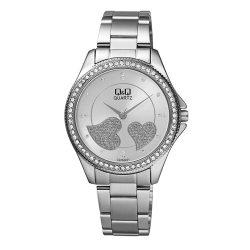 Q&Q női fémcsatos karóra, quartz, ezüst színű tok és csat, ezüst színű számlap, C226J211Y
