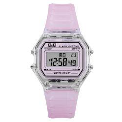 Q&Q női műanyag karóra, quartz/LCD, színtelen színű tok, rózsaszín szíj, M173J041Y