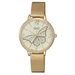 Q&Q női fémcsatos karóra, arany színű tok és csat, fehér számlap, QB57J004Y
