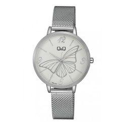 Q&Q női fémcsatos karóra, quartz, ezüst színű tok és csat, fehér számlap, QB57J204Y