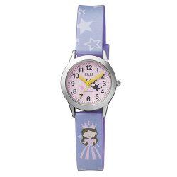 Q&Q gyerek karóra, ezüst színű tok, rózsaszín számlap, lila szíj, QC29J305Y
