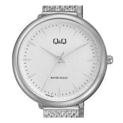 Q&Q női fémcsatos karóra, quartz, ezüst színű tok és csat, fehér számlap, QC35J201Y