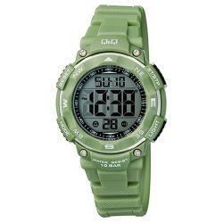 Q&Q Női műanyag szíjas digitális karóra, zöld színű tok és szíj, M149J011Y