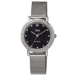 Q&Q női fémcsatos karóra, ezüst színű tok és csat, fekete színű számlap, QB45J202Y