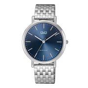 Q&Q analóg férfi karóra, ezüst színű fém tok, ezüst színű nemesacél csat, kék számlap, ásványüveg, quartz szerkezet, cseppmentes vízállóság - QA20J242Y