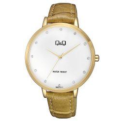 Q&Q analóg női slim karóra, arany színű fém tok, barna bőrszíj (pu), fehér számlap, ásványüveg, quartz szerkezet, cseppmentes vízállóság - QB57J111Y