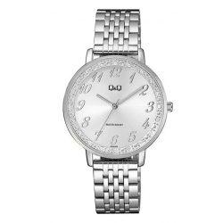 Q&Q analóg női karóra, ezüst színű fém tok, ezüst színű nemesacél csat, fehér számlap, ásványüveg, quartz szerkezet, cseppmentes vízállóság - QC09J204Y