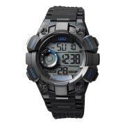 Q&Q digitális LED-es férfi karóra, fekete színű műanyag tok, fekete műanyag szíj, LCD számlap, ásványüveg, quartz szerkezet, 100 m (10 ATM) vízállóság - M176J003Y