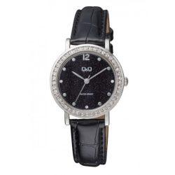 Q&Q analóg női karóra, ezüst színű fém tok, fekete bőrszíj, fekete számlap, ásványüveg, quartz szerkezet, cseppmentes vízállóság - QB45J302Y