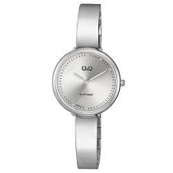 Q&Q analóg női karóra, ezüst színű fém tok, ezüst színű fém csat, fehér számlap, ásványüveg, quartz szerkezet, cseppmentes vízállóság - F669J211Y