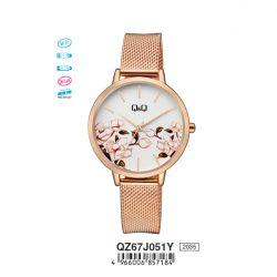 Q&Q analóg női karóra, rózsaarany színű fém tok, rózsaarany színű nemesacél csat, fehér számlap, ásványüveg, quartz szerkezet, cseppmentes vízállóság - QZ67J051Y