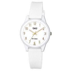 Q&Q analóg női karóra, fehér színű műanyag tok, fehér műanyag szíj, fehér számlap, ásványüveg, quartz szerkezet, 100 m (10 ATM) vízállóság - VS13J008Y