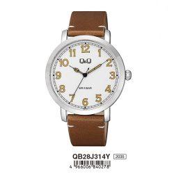 Q&Q férfi karóra, quartz, ezüst színű tok, barna bőrszíj, fehér számlap, QB28J314Y