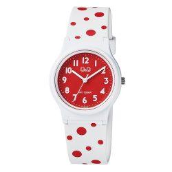 Q&Q női karóra, quartz, fehér színű tok, fehér figurás szíj, piros számlap, VP46J060Y