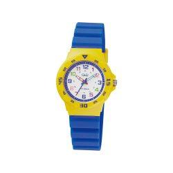 Q&Q gyerek műanyag karóra, quartz, sárga színű tok, kék szíj, fehér számlap, VR19J011Y