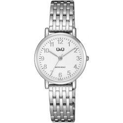 Q&Q női fémcsatos karóra, quartz, ezüst színű tok és csat, fehér számlap, QA21J204Y