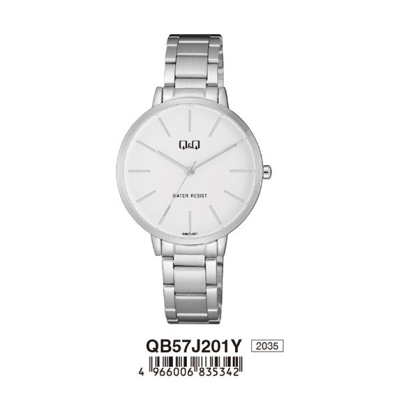 Q&Q női fémcsatos karóra, quartz, ezüst színű tok és csat, fehér számlap, QB57J201Y
