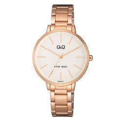 Q&Q női fémcsatos karóra, quartz, rózsaarany színű tok és csat, fehér számlap, QB57J011Y
