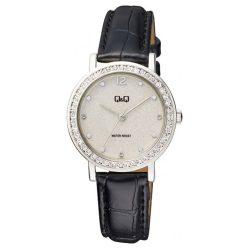 Q&Q női bőrszíjas karóra, quartz, ezüst színű tok, fekete szíj, ezüst színű számlap, QB45J301Y