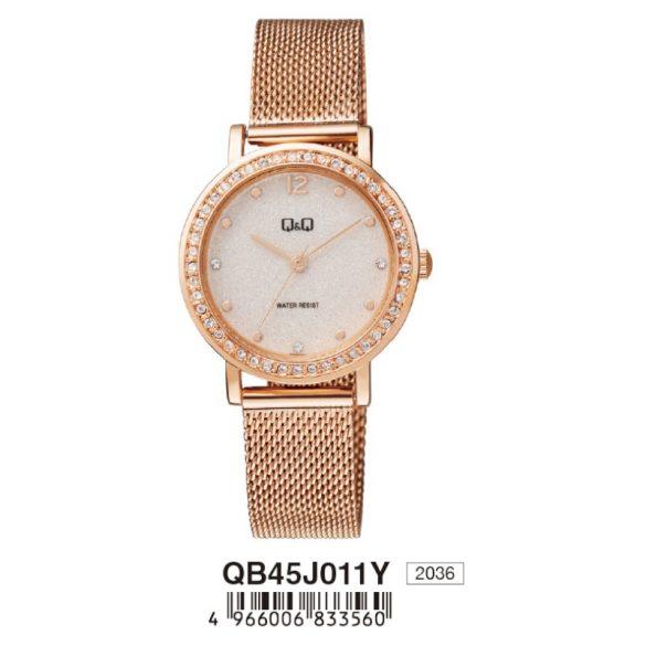 Q&Q női ékszeróra, quartz, rózsaarany színű tok és csat, fehér számlap, QB45J011Y