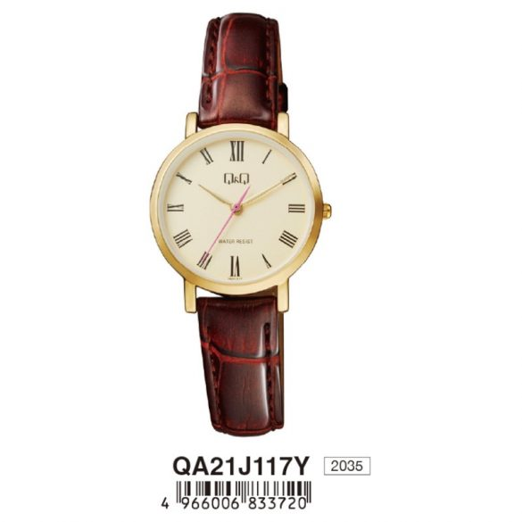 Q&Q női bőrszíjas karóra, quartz, arany színű tok, barna szíj, pezsgő számlap, QA21J117Y