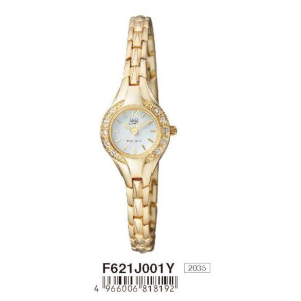 Q&Q női ékszeróra, quartz, arany színű tok és csat, fehér számlap, F621J001Y