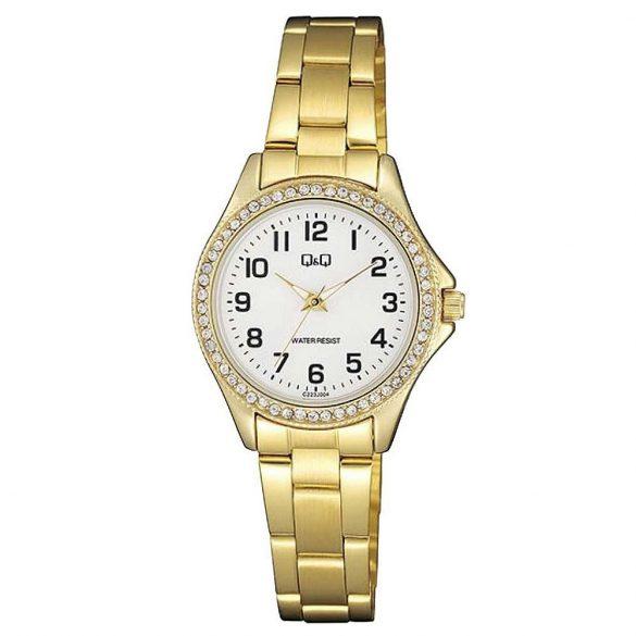 Q&Q női fémcsatos karóra, quartz, arany színű tok és csat, fehér számlap, C223J004Y