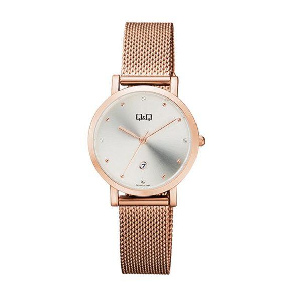Q&Q analóg divat női karóra, rózsaarany színű fém tok, rózsaarany színű fém csat, ezüst színű számlap, ásványüveg, quartz szerkezet, cseppmentes vízállóság - A419J011Y